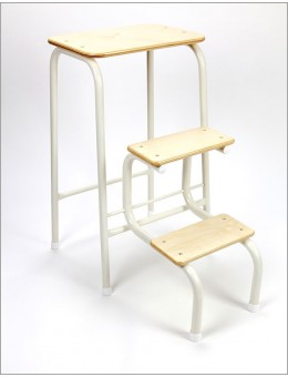 Birchwood stool in cream + white ferrules