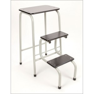 Blackheath stool in pale grey + black ferrules