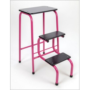 Blackheath stool in hot pink + black ferrules