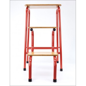 Hornsey stool in red + black ferrules