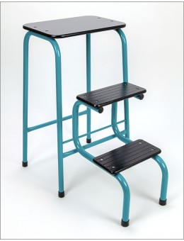 Blackheath stool in teal + black ferrules