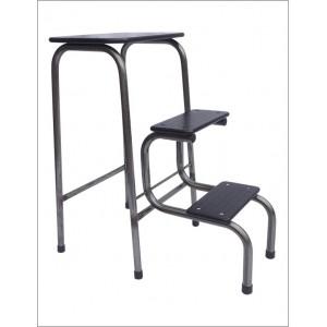 Blackheath stool in steel + black ferrules