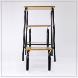 Hornsey stool in black (+ white ferrules)