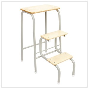 Birchwood stool in pale grey + white ferrules
