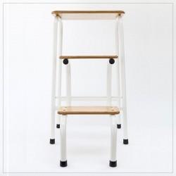 Hornsey stool in cream (+ black ferrules)