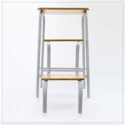 Hornsey stool in pale grey (+ white ferrules)