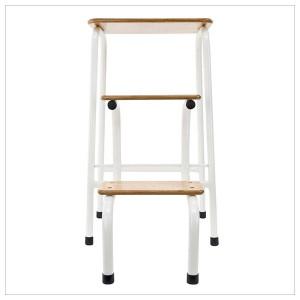 Hornsey stool in cream + black ferrules