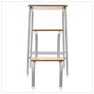 Hornsey stool in pale grey + white ferrules