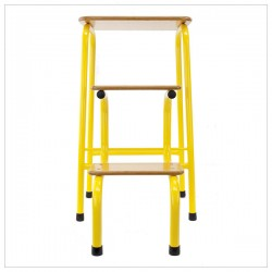 Hornsey stool in yellow + black ferrules