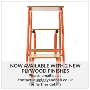 Hornsey stool in orange (+ black ferrules)