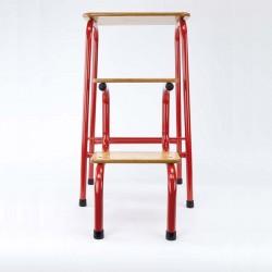 Hornsey stool in red (+ black ferrules)