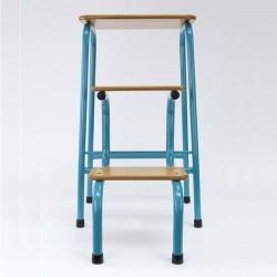 Hornsey stool in teal (+ black ferrules)