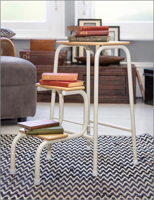 Birchwood stool in cream